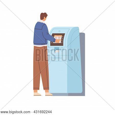 Person Withdrawing Cash In Atm. Man Using Automated Teller Machine For Money Withdrawal And Bank Pay