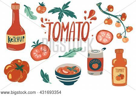 Fresh Red Tomatoes Collection. Ketchup, Tomato Sauce, Gazpacho Soup, Tomatoes On A Branch And Leaves