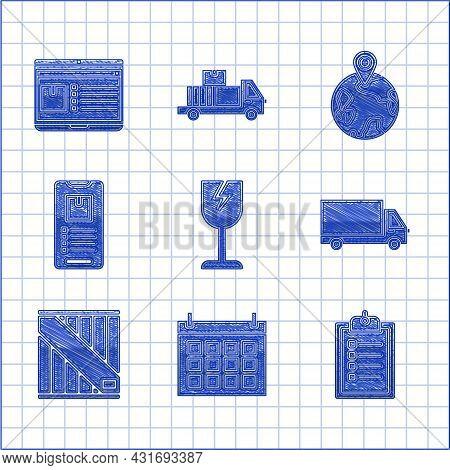 Set Fragile Broken Glass Symbol, Calendar, Verification Of Delivery List Clipboard, Delivery Cargo T
