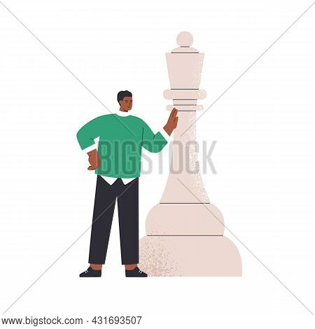 Thinking Person And Huge Chess Piece. Business Strategy, Career Challenge And Achievement Concept. H