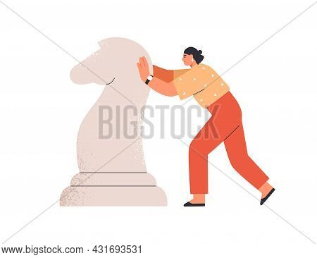 Confident Determined Person Moving Horse, Chess Piece Forward To Goal. Business Strategy Concept. Am