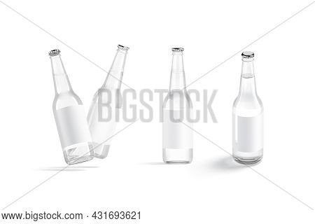 Blank White Glass Beer Bottle With Label Mockup, Different Views, 3d Rendering. Empty Glassy Flask F