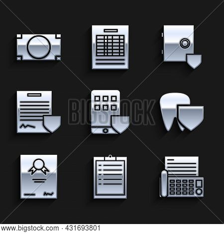 Set Smartphone Insurance, Clipboard With Checklist, Fax Machine, Tooth Shield, Certificate Template,