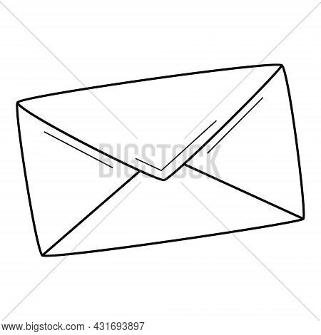 A Closed Paper Envelope. A Letter, Mail Correspondence, A Message. Linear Icon. Hand-drawn Black And