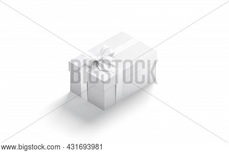 Blank White Gift Box With Ribbon Bow Mockup, Side View, 3d Rendering. Empty Big Carton Care Package