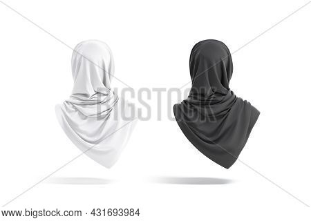 Blank Black And White Woman Muslim Hijab Mockup, Back View, 3d Rendering. Empty Eastern Or Arabian H