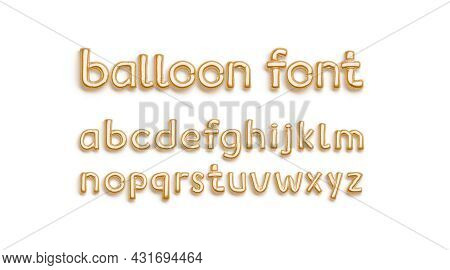 Inflated Gold Balloon Font With Lowercase Alphabet, Top View, 3d Rendering. Festive Helium Fount For