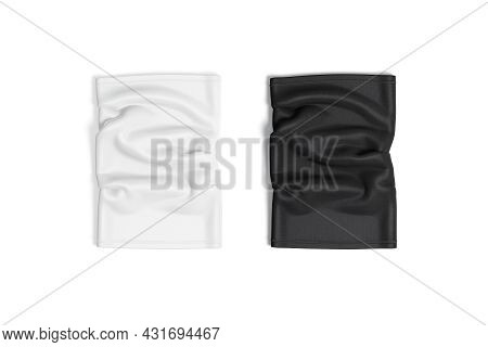 Blank Black And White Neck Gaiter Mockup Front, Top View, 3d Rendering. Empty Cloth Safety Equipment