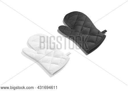 Blank Black And White Oven Mitt Mockup Back, Side View, 3d Rendering. Empty Protective Gauntlet For