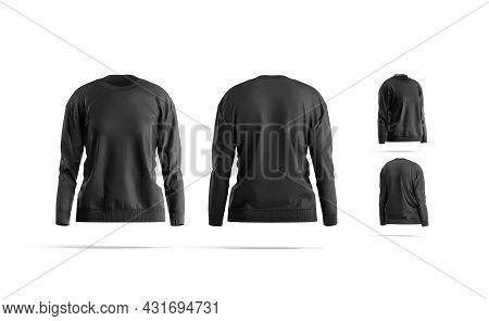 Blank Black Women Sweatshirt Mock Up, Different Views, 3d Rendering. Empty Loose Overall Fabric Swea