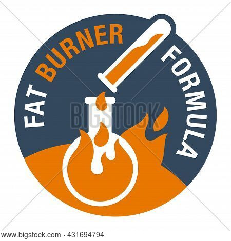 Fat Burner Formula Icon - Food Supplement For Weight Loss And Increasing Energy. Vector Badge