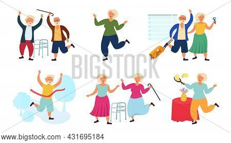 Grandparents, Elderly Old People In Different Situations. Pensioners And An Active Lifestyle.