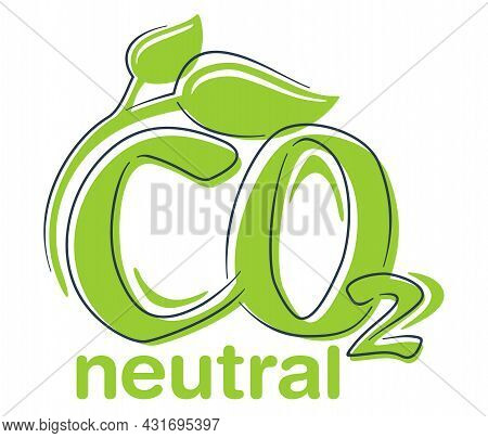 Co2 Neutral Green Decorative Badge, Net Zero Carbon Dioxyde Footprint - Carbon Emissions Free No Air