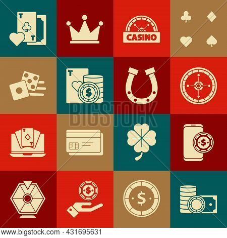 Set Casino Chips And Stacks Money Cash, Online Poker Table Game, Roulette Wheel, Signboard, Playing