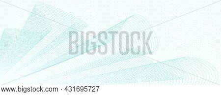 Light Green Draped Net, Wavy Thin Curves. Abstract Vector Watermark For Cheque, Ticket, Banner, Webs