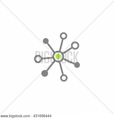 Hub Network Connection Line Icon Isolated On White. System Or Technology Logo. Server Or Central Dat