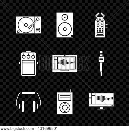 Set Vinyl Player With A Vinyl Disk, Stereo Speaker, Microphone, Headphones, Music Mp3, Sound Or Audi