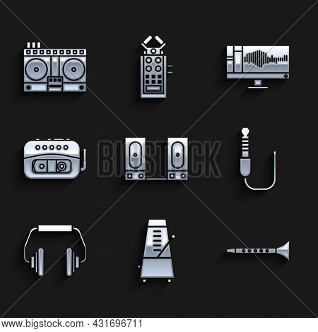 Set Stereo Speaker, Metronome With Pendulum In Motion, Clarinet, Audio Jack, Headphones, Music Tape