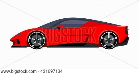 Modern Sports Car. Side View Of A 2-door Sports Coupe. Vector Supercar Icon For Road And Transportat