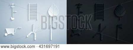 Set Gardening Handmade Scissors, Leaf, Wheelbarrow, Wooden Axe, Staircase And Grass Weed Electric St
