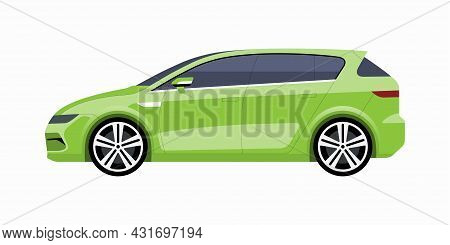 Modern Compact Family Car. Side View Of A Hatchback. Vector Car Icon For Road Traffic And Transporta