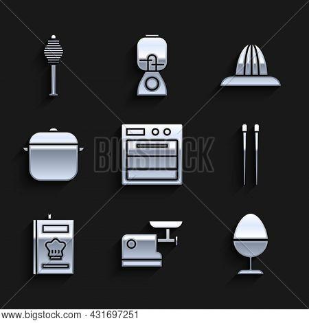Set Oven, Kitchen Meat Grinder, Chicken Egg On Stand, Food Chopsticks, Cookbook, Cooking Pot, Citrus