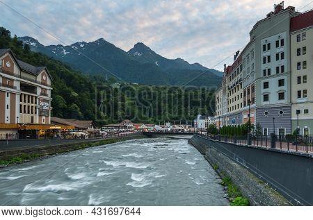 Sochi, Russia - June 23, 2017: View Of The Embankment Of River Mzymta In Rosa Khutor Mountain Ski Re