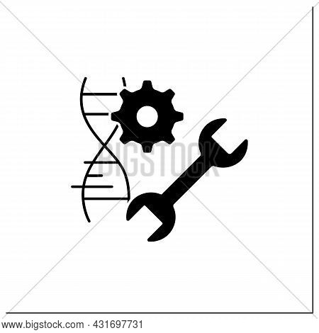 Genetic Engineering Glyph Icon. Dna Molecule, Editing Gene. Medical Technology. Microscopic Structur
