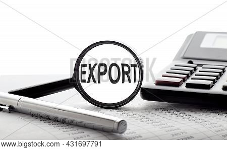 Magnifying Glass With Text Export On Chart With Pen And Calculator