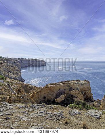 Algarve Coast With Algar Seco, Natural Landscape In Carvoeiro, Portugal