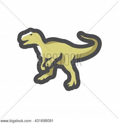 Green Dinosaur Tyrannosaurus Vector Icon Cartoon Illustration.
