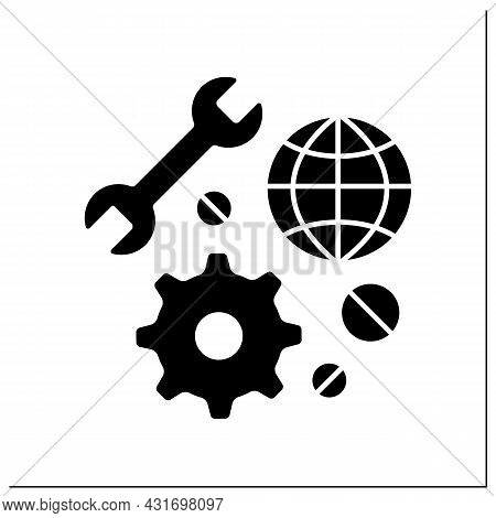 Technical Support Glyph Icon. Fast Help In Restoring And Repairing Equipment. Embassy Service Concep