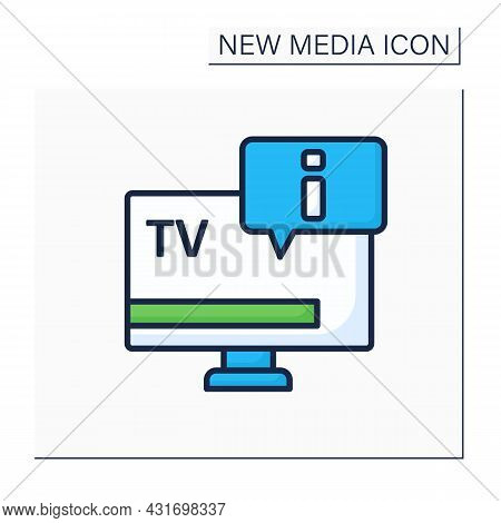 Tv Color Icon.telecommunication. Transmitting Moving Tv Shows, News Programs. Information Exchange.n