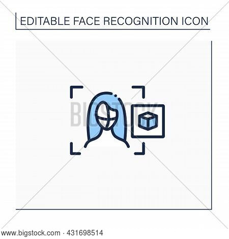 3d Recognition Line Icon. Three-dimensional Face Recognition.biometric Face Identifying. Personal De