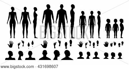 Male, Female, Gender Neutral And A Toddler Human Body Silhouettes. Anonymous Avatars Of An Adults Ma