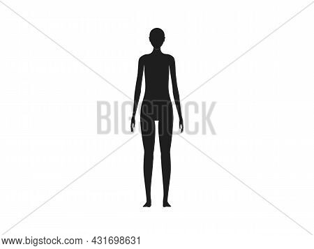 Front View Of A Female Human Body Silhouette.