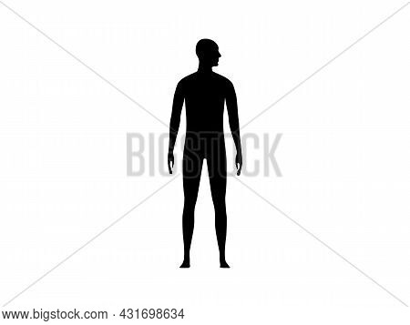 Front View Silhouette Of A Man With Head Turned To The Shoulder.