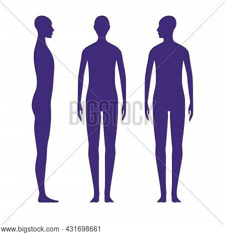Front And Side Views Human Body Silhouette Of A Neutral Gender Adult. Shadow Of A Standing X-gender