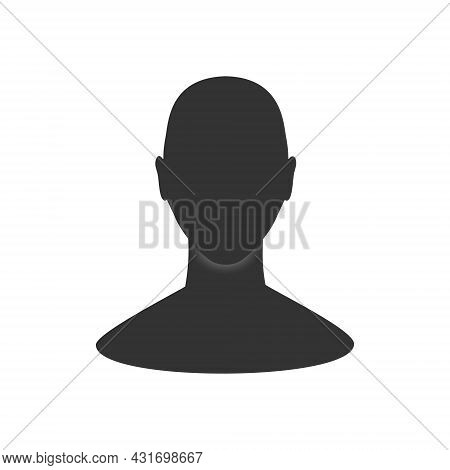 Man Profile Avatar Silhouette. Front View Of An Anonymous Male Person Face.