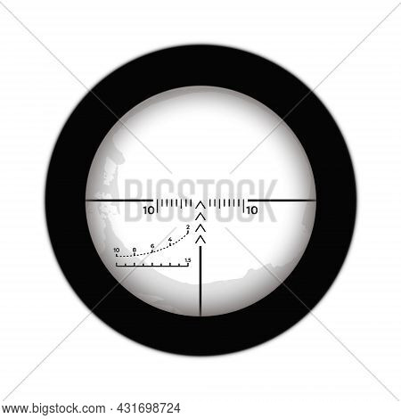 Crosshairs Of A Sniper Scope Reticle. Cross Hairs Of A Rifle Gun Aiming Optical Viewfinder.