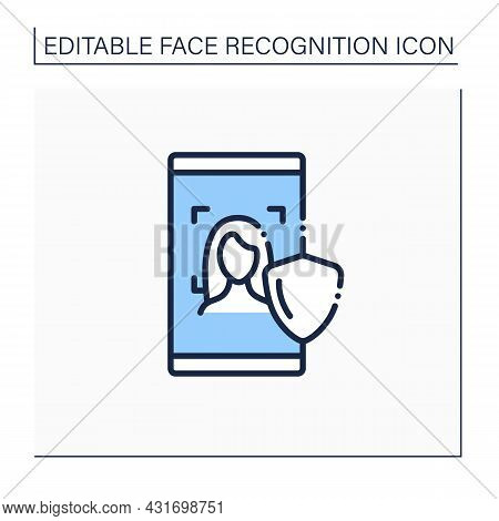 Face Scan Protection Line Icon. Authentication By Facial Recognition.personal Verification, Cyber Pr