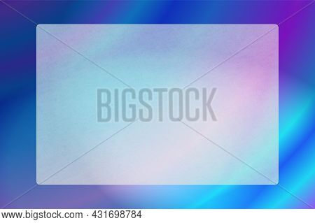 Opaque Frosted Glass Plate With Rough Grain Texture. Translucent Plastic Frame