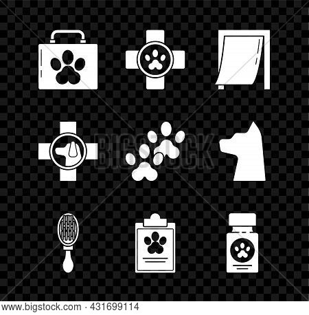Set Pet First Aid Kit, Veterinary Clinic Symbol, Door For Pet, Hair Brush Dog And Cat, Clipboard Wit