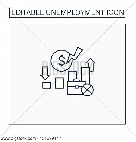 Unemployment Rate Line Icon. Unemployed Workers Graphs.increase And Decrease Labor Force In Percenta