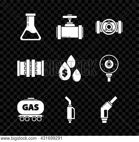 Set Test Tube And Flask, Industry Metallic Pipes Valve, Gas Railway Cistern, Gasoline Pump Nozzle, A
