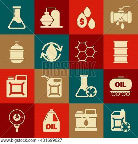 Set Antifreeze Canister, Oil Railway Cistern, Barrel Oil, Drop With Dollar Symbol, Propane Gas Tank,