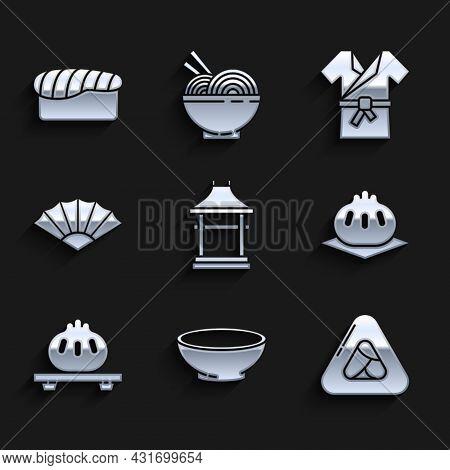Set Japan Gate, Bowl Of Hot Soup, Sushi, Khinkali On Cutting Board, Dumpling, Paper Chinese Or Japan