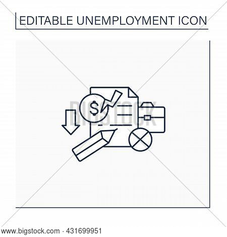 Unemployment Claim Line Icon. Documentary. Request For Cash Benefits After Getting Laid Off From Job