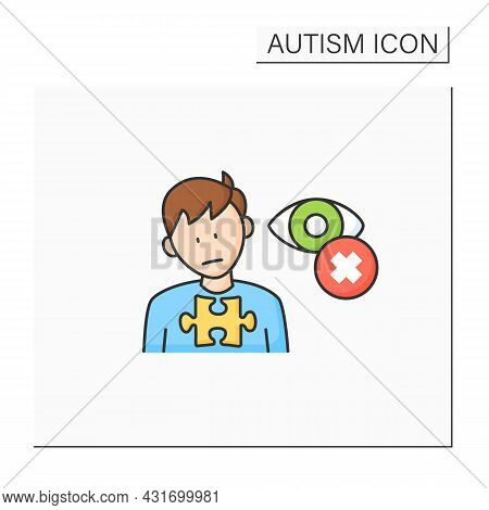 Neurodevelopmental Disorder Color Icon. Eye Contact Avoidance. Poor Contact. Autism Spectrum Disorde
