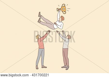 Business Success, Leadership, Teamwork Concept. Two Smiling Businessmen Cartoon Characters Standing